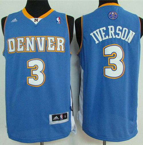 Nuggets #3 Allen Iverson Light Blue Stitched NBA Jersey