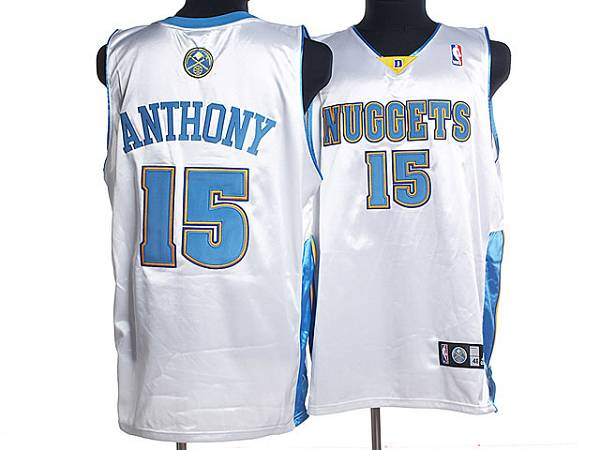 Nuggets #15 Carmelo Anthony Stitched White NBA Jersey