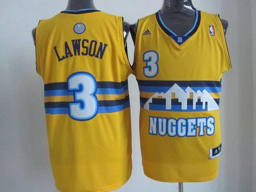 Nuggets #3 Ty Lawson Yellow Swingman Throwback Stitched NBA Jersey
