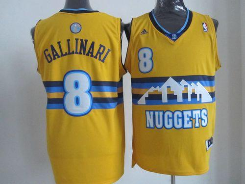Nuggets #8 Danilo Gallinari Yellow Alternate Stitched NBA Jersey