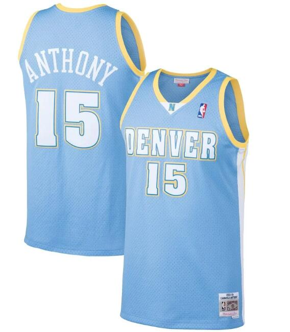 Men's Denver Nuggets #15 Carmelo Anthony Light Blue Throwback Stitched Jersey