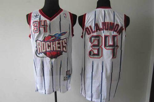Rockets #34 Hakeem Olajuwon White Throwback Stitched NBA Jersey