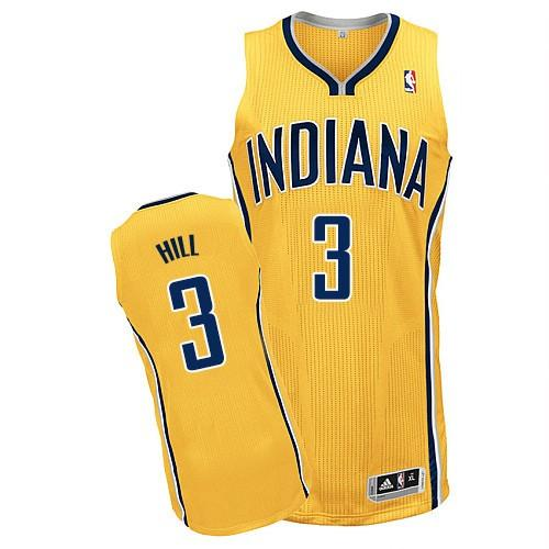 Revolution 30 Pacers #3 George Hill Yellow Home Stitched NBA Jersey