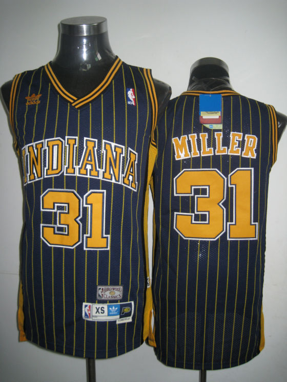 Mitchell and Ness Pacers #31 Reggie Miller Navy Blue Stitched Throwback NBA Jersey