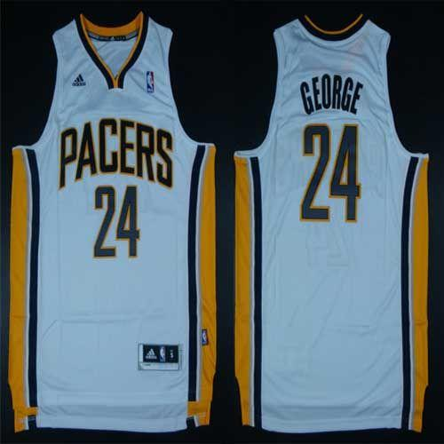 Pacers #24 Paul George White Home Stitched NBA Jersey