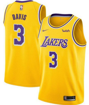 Men's Los Angeles Lakers #3 Anthony Davis Yellow Stitched NBA Jersey