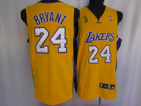Lakers #24 Kobe Bryant Stitched Yellow Champion Patch NBA Jersey