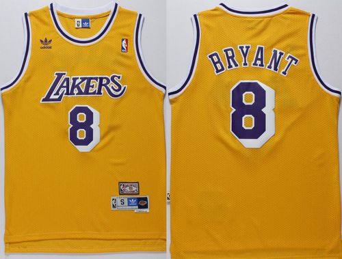 Lakers #8 Kobe Bryant Gold Throwback Stitched NBA Jersey