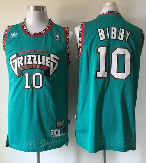 Grizzlies #10 Mike Bibby Green Throwback Stitched NBA Jersey
