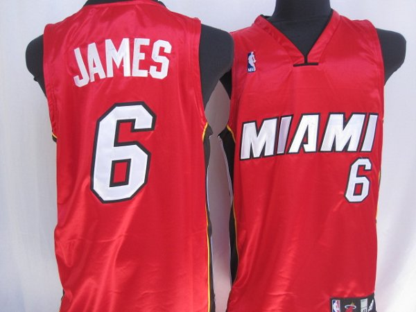 Heat #6 LeBron James Stitched Red NBA Jersey