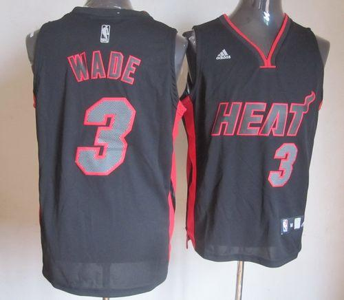 Heat #3 Dwyane Wade Black With Red & Black Number Stitched NBA Jersey