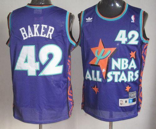 Bucks #42 Vin Baker Purple 1995 All Star Throwback Stitched NBA Jersey