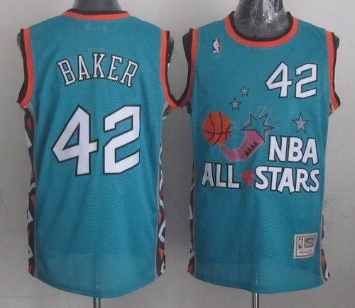 Mitchell And Ness Bucks #42 Vin Baker Light Blue 1996 All star Stitched NBA Jersey