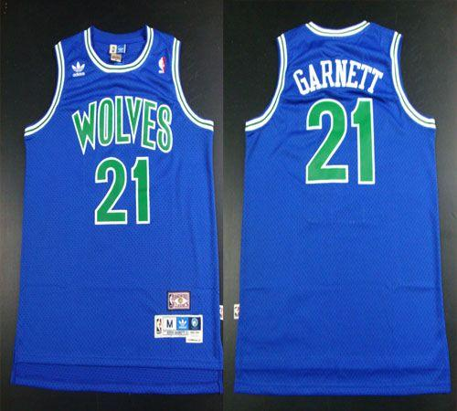 Timberwolves #21 Retro Garnett Blue Throwback Stitched NBA Jersey