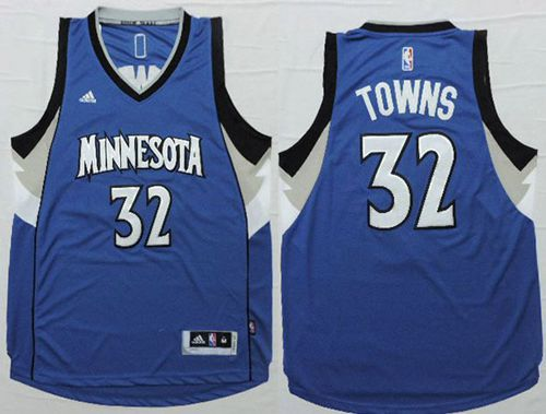 Timberwolves #32 Karl-Anthony Towns Blue Stitched NBA Jersey