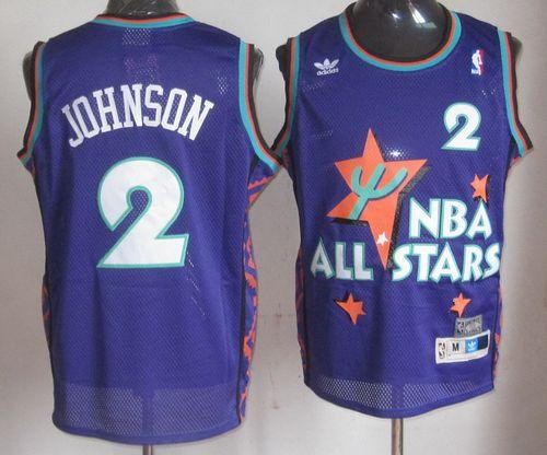 Hornets #2 Larry Johnson Purple 1995 All Star Throwback Stitched NBA Jersey