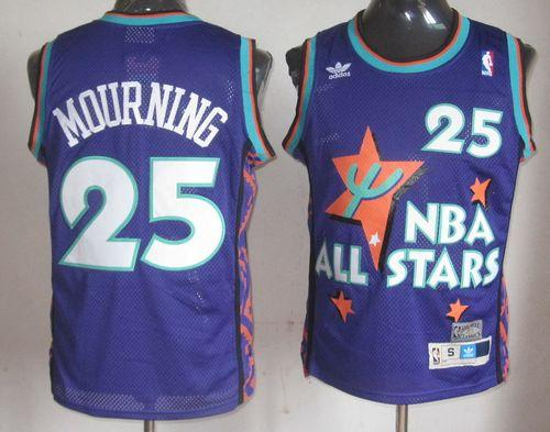 Hornets #25 Alonzo Mourning Purple 1995 All Star Throwback Stitched NBA Jersey