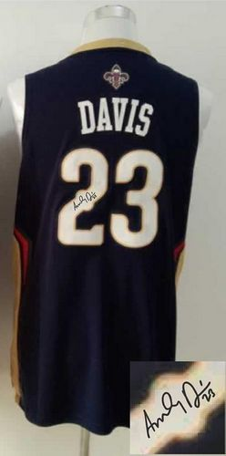 Revolution 30 Autographed Pelicans #23 Anthony Davis Navy Stitched NBA Jersey