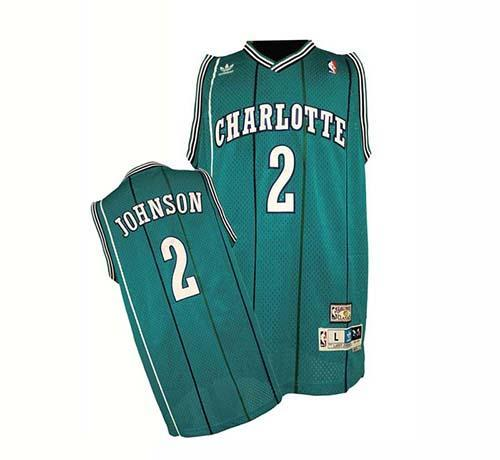 Hornets #2 Larry Johnson Green Charlotte Hornets Stitched NBA Jersey