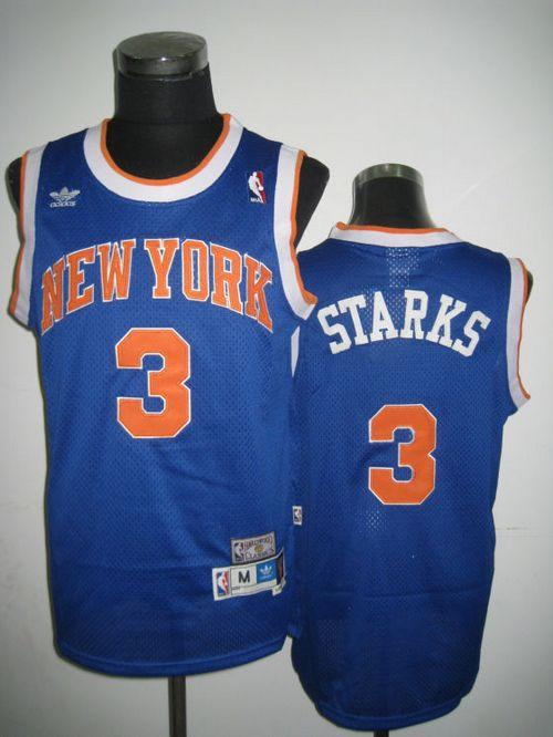Knicks #3 John Starks Blue Throwback Stitched NBA Jersey
