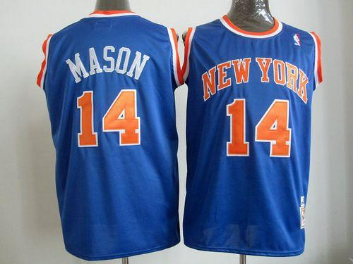 Mitchell And Ness Knicks #14 Anthony Mason Blue Throwback Stitched NBA Jersey