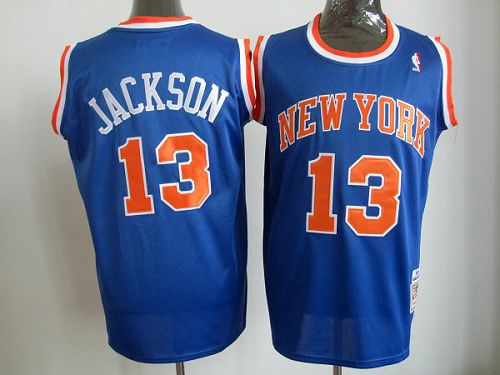 Mitchell And Ness Knicks #13 Mark Jackson Blue Throwback Stitched NBA Jersey
