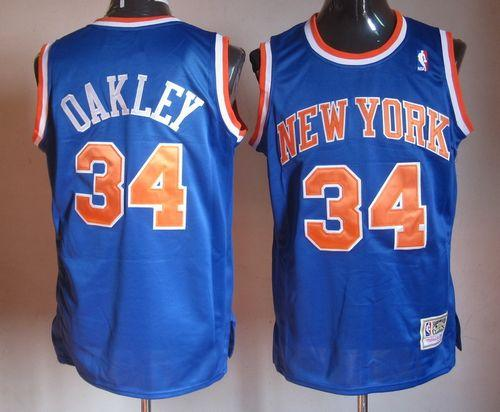 Mitchell And Ness Knicks #34 Charles Oakley Blue Throwback Stitched NBA Jersey
