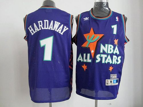 Magic #1 Penny Hardaway Blue All Star 1995 Stitched NBA Jersey