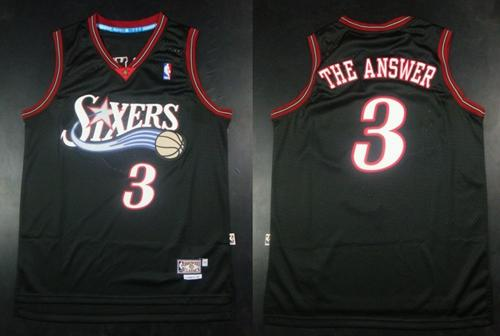 "76ers #3 Allen Iverson Black Throwback ""The Answer"" Stitched NBA Jersey"