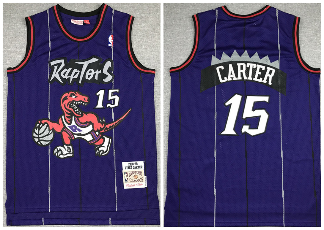 Men's Toronto Raptors #15 Vince Carter Purple Throwback Stitched Jersey