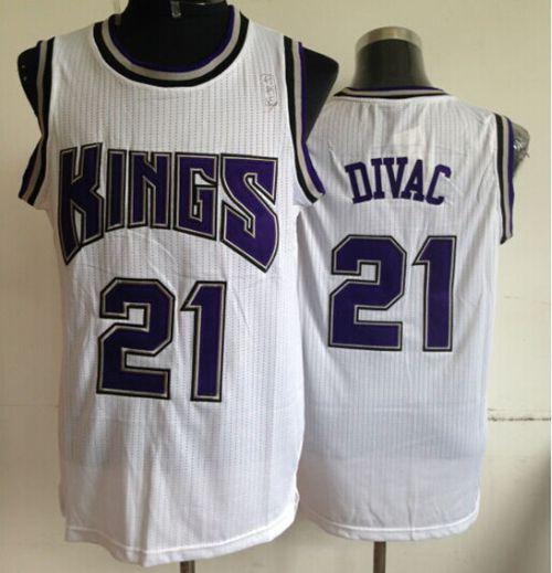 Kings #21 Vlade Divac White Throwback Stitched NBA Jersey