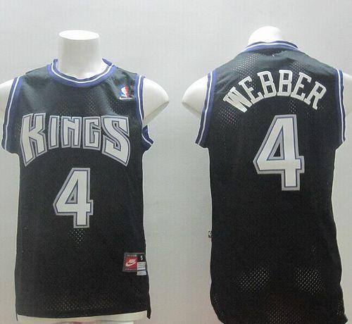 Kings #4 Chris Webber Black Throwback Stitched NBA Jersey