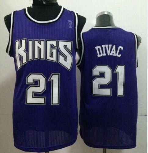 Kings #21 Vlade Divac Purple Throwback Stitched NBA Jersey