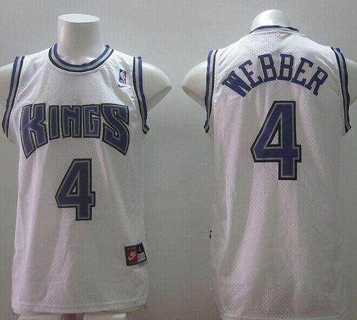 Kings #4 Chris Webber White Home Throwback Stitched NBA Jersey