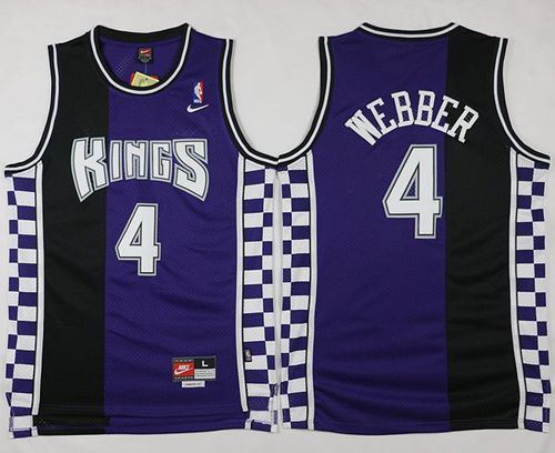 Kings #4 Chris Webber Purple/Black Throwback Stitched NBA Jersey