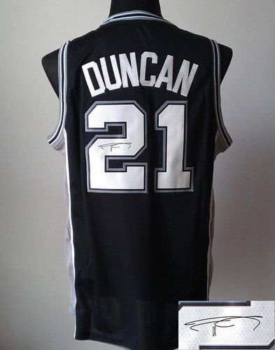 Revolution 30 Autographed Spurs #21 Tim Duncan Black Stitched NBA Jersey