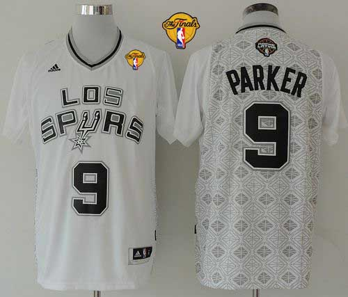 Spurs #9 Tony Parker White New Latin Nights Finals Patch Stitched NBA Jersey