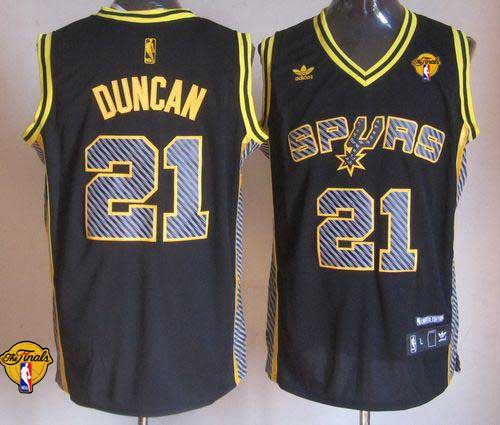 Spurs #21 Tim Duncan Black Electricity Fashion Finals Patch Stitched NBA Jersey