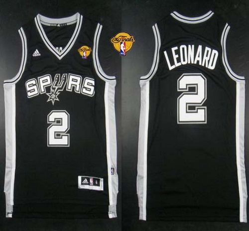 Revolution 30 Spurs #2 Kawhi Leonard Black Finals Patch Stitched NBA Jersey