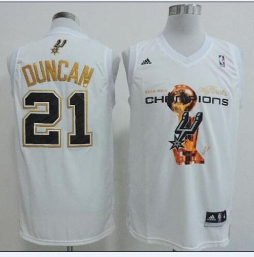 Spurs #21 Tim Duncan White 2014 NBA Finals Champions Stitched NBA Jersey