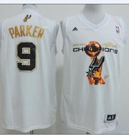 Spurs #9 Tony Parker White 2014 NBA Finals Champions Stitched NBA Jersey