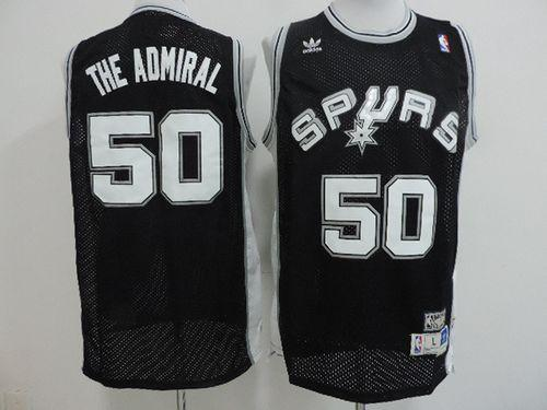 "Spurs #50 David Robinson Black ""The Admiral"" Nickname Stitched NBA Jersey"