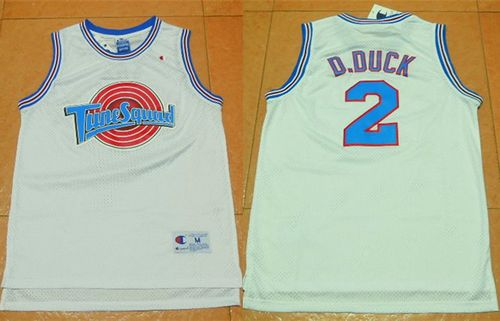 Space Jam Tune Squad #2 Daffy Duck White Movie Stitched Basketball Jersey