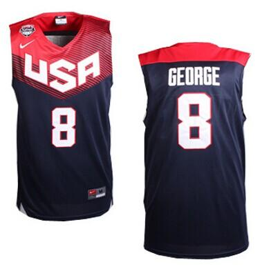 Nike 2014 Team USA #8 Paul George Dark Blue Stitched NBA Jersey