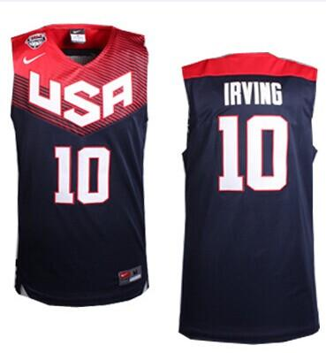 Nike 2014 Team USA #10 Kyrie Irving Dark Blue Stitched NBA Jersey