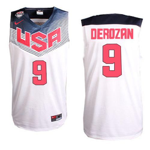 Nike 2014 Team USA #9 DeMar DeRozan White Stitched NBA Jersey
