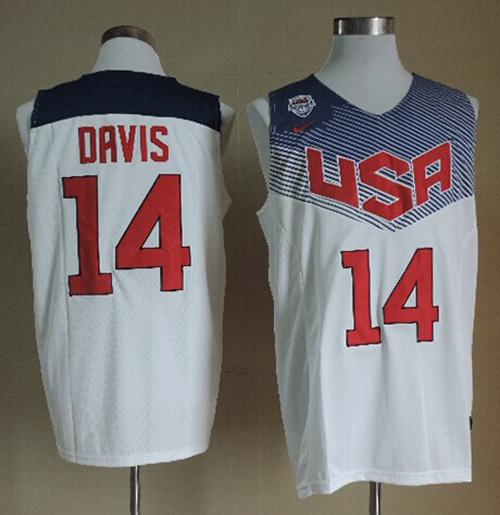 Nike 2014 Team USA #14 Anthony Davis White Stitched NBA Jersey