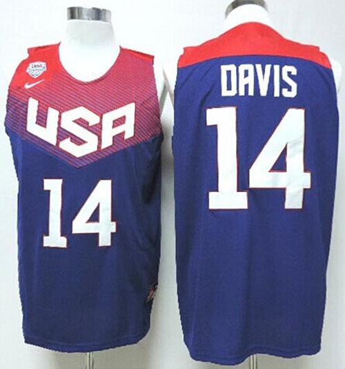 Nike 2014 Team USA #14 Anthony Davis Dark Blue Stitched NBA Jersey