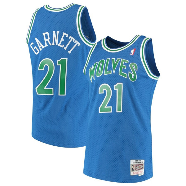 Men's Minnesota Timberwolves #21 Kevin Garnett Blue Throwback Stitched NBA Jersey