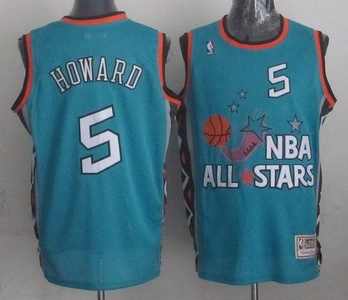 Mitchell And Ness Wizards #5 Juwan Howard Light Blue 1996 All star Stitched NBA Jersey